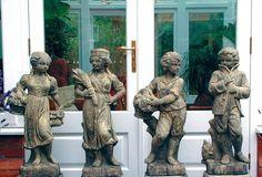 Set Four Children Stone Sculptures Large Garden Statue. Buy now at http://www.statuesandsculptures.co.uk/large-garden-statues-set-four-children-stone-sculptures