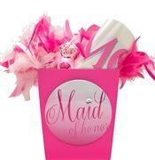 Pink Maid of Honor Button & Sash Gift Set