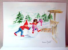 """Aquarelle """"jeux dans la neige"""" - 21 x 29 cm : Peintures par floartistique"""