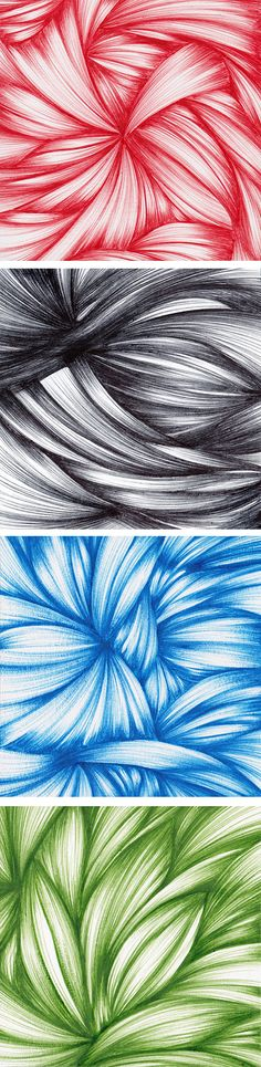 Small ballpoint pen drawings on paper, each in a different color of ink. Click through to purchase!