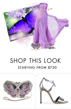 """""""Royal Blue and Purple Butterfly"""" by kimzarad1 ❤ liked on Polyvore featuring Judith Leiber and Gucci"""