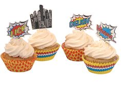 vintage superhero birthday cakes | Cupcake Toppers & Cases - Pop Art Superhero Party | Ginger Ray