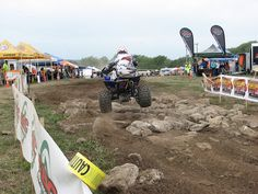 GNCC offers classes for riders of all skill and experience levels. The amateur racers can sign up at the track.  4 wheel ATV's and dirt bikes compete on typical Can-AM race weekend Share this photo! #AMSOIL #GNCC #motocross #ATV