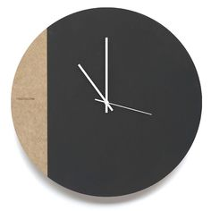 Large Black & White Wall Clock Portion unfinished MDF board with hand painted 'black board paint'.