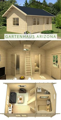Das Garten- und Freizeithaus mit Schlafboden ist das perfekte Ferienhaus am See. The garden and leisure house with sleeping loft is the perfect holiday home. Tiny House Cabin, Tiny House Living, Tiny House Design, Small House Plans, House Floor Plans, Tiny Guest House, Guest House Plans, Shed Homes, Tiny Homes