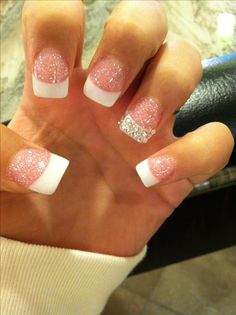 French toe nails 2015 nail art styling sparkle tips toes pro Solar Nail Designs, Creative Nail Designs, Creative Nails, Prom Nails, Wedding Nails, Cute Nails, Pretty Nails, French Toe Nails, Hair And Nails