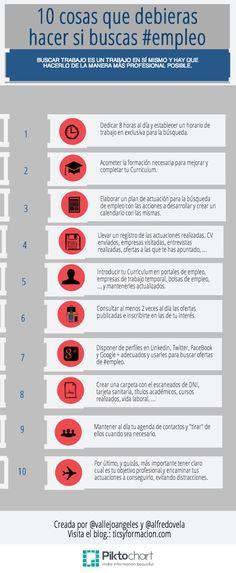 10 cosas que debieras hacer si buscas Creada por @Maria Angeles Vallejo Bernal y @Alfredo Vela Piktochart #empleo #infografia #infographic