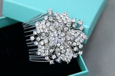 Bridal Headpiece Rhinestone Flower Hair Comb by BlingGarden