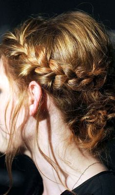Try this easy braided updo: French braid along your hairline and then twist the ends of your hair into a loose chignon at the nape of your neck. Bun Hairstyles For Long Hair, Celebrity Hairstyles, Pretty Hairstyles, Braided Hairstyles, Wedding Hairstyles, Braided Updo, Hairstyle Ideas, Messy Hairstyle, Princess Hairstyles