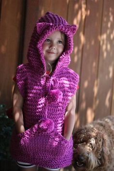 Excited to share the latest addition to my shop: Knitting PATTERN- Knitted Kitty Vest, Toddler Size Kids Knitting Patterns, Easy Crochet Patterns, Knitting For Kids, Crochet For Kids, Crochet Baby, Toddler Vest, Crochet Hot Pads, Vest Pattern, Crochet Poncho