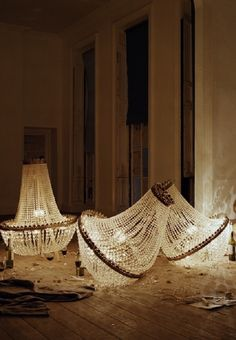 Tom Guinness with Chandelier Shards, Bedford Square, London, circa 2010, ph. Tim Walker