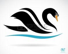 Vector de imagen de un cisne en un fondo negro Foto de archivo