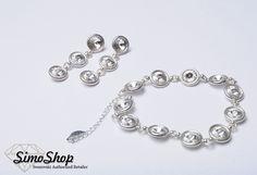 Set inel și brățară din argint 925 cu cristale swarovski. #simoshop #bijuterii #accesorii #argint #swarovskicrystals #swarovski Swarovski, Bracelets, Silver, Jewelry, Fashion, Moda, Jewlery, Jewerly, Fashion Styles