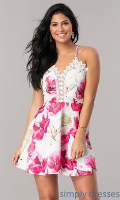 Wedding-Guest Short Semi-Casual Print Party Dress