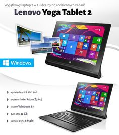 Lenovo Yoga Tablet 2 1051L LTE (59-429213) + osłona z klawiaturą | cena, raty - sklep Komputronik.pl
