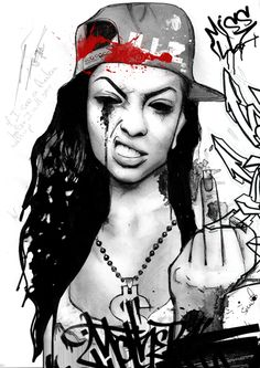 #Art Chicano Art, Arte Chicana, Dope Cartoons, Gangsta Girl, Dope Art, Thug Life Tattoo, Graffiti Art, Black Art, Urban Art