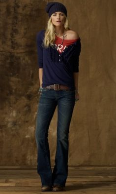 I am in love with this! over-sized henley, graphic/ print tee under, boot cut jeans, large belt, and beanie