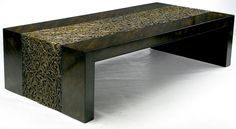 Phyllis Morris Zebrano & Gilt Arabesque Coffee Table | From a unique collection of antique and modern coffee and cocktail tables at https://www.1stdibs.com/furniture/tables/coffee-tables-cocktail-tables/