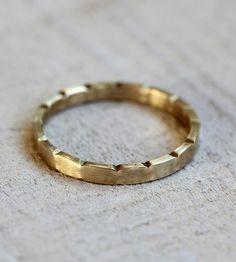 Gold Notched Wedding Band