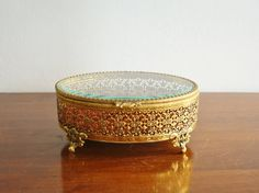 Vintage brass & glass jewelry box with lid