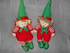 VINTAGE GIRL AND BOY CHRISTMAS ELF ELVES NYLON PARACHUTE FABRIC PLUSH SET-RARE #JSINTERNATIONAL
