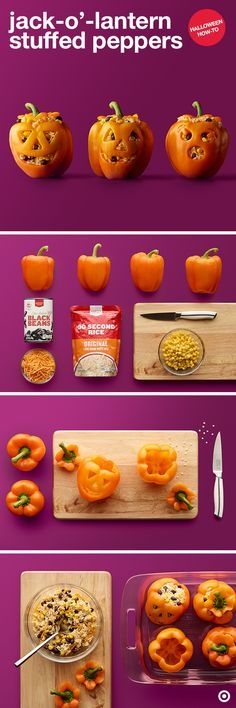 Carve some peppers in a clever way for a fun feast with these jack-o'-lantern stuffed peppers. First, carefully carve off the lid from each pepper and remove the seeds. Then, carve that classic grin and cut off part of the bottom so they sit level. Heat up the beans and rice. Stir in corn and cheese and then stuff each pepper. Bake until filling is warm and peppers are slightly soft. Your Halloween meal is sure to be memorable with these mugs.