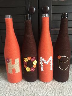 Yarn wrapped bottles wrapped bottles fall by HomeEcQueen on Etsy (Home Decorated Bottle) Fall Wine Bottles, Wine Bottle Art, Diy Bottle, Yarn Wrapped Bottles, Dollar Tree Decor, Glass Bottle Crafts, Wine Craft, Recycled Bottles, Bottle Painting