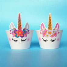 Buy Unicorn Horse Party Cupcake Topper Unicornio Aniversario Party Cake Wrapper Baby Shower Girl Kids Birthday Party Decoration Supplies at Wish - Shopping Made Fun Cartoon Cupcakes, Unicorn Cupcakes, Unicorn Birthday Parties, Unicorn Party, Birthday Kids, Rainbow Unicorn, Happy Birthday, Cupcake Party, Party Cakes