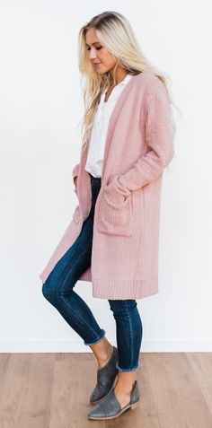 Randall Velour Cardigan - Dusty Pink