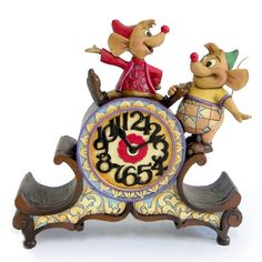 "Jaq & Gus know what time it is - time to help Cinderelly! ""A STITCH IN TIME"" - JAQ & GUS CLOCK (Jim Shore Disney Traditions) #Disney #Cinderella #JimShore"
