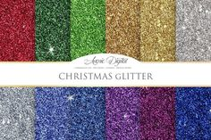 Christmas Glitter Digital Paper. Christmas Patterns. $3.00