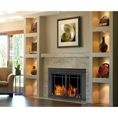 Fireplace Glass Doors, Wood Burning Fireplace Inserts, Linear Fireplace, Fireplace Shelves, Small Fireplace, Fireplace Remodel, Diy Fireplace, Living Room With Fireplace, Fireplace Surrounds