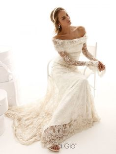 classic collection | champagne-colored French lace dress with a soft off-the-shoulder neckline, and belled sleeves with romantic deep cuffs  |||  Le Spose di Gio