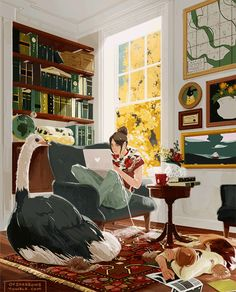 """she's since been banned from napping in the study because having the pictures on the walls misbehave is apparently """"inimical to productivity"""" or something"""