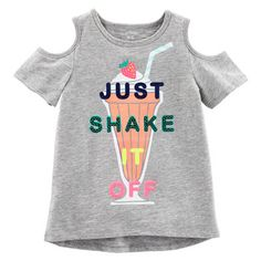 "Girls Carter's ""Just Shake It Off"" Graphic Cold-Shoulder Tee Kids Girls Tops, Kids Outfits Girls, Girls Tees, Shirts For Girls, Kids Shirts, Girl Outfits, Girls 4, Carter Kids, Printed Shirts"