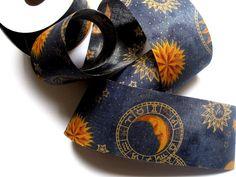 Zodiac Astrology Wide Cotton Ribbon Yellow / by PrimroseLaceRibbon, $3.75