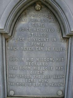 """""""A precious one from us has gone, a voice we loved is stilled; a place is vacant in our home, which never can be filled.  God in his wisdoem, has recalled the boon his love had given; and though the body slumbers now, the soul is safe in heaven."""" Saint Paul Cemetery Glenford, Ohio"""