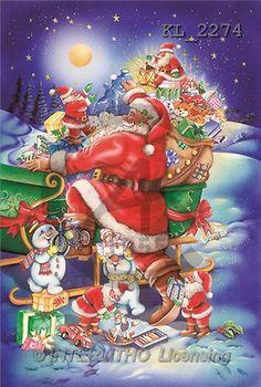 Interlitho, Michele, CHRISTMAS SANTA, SNOWMAN, paintings, santas, gifts(KL2274,#X#) Weihnachtsmänner, Schneemänner, Weihnachen, Papá Noel, muñecos de nieve, Navidad, illustrations, pinturas