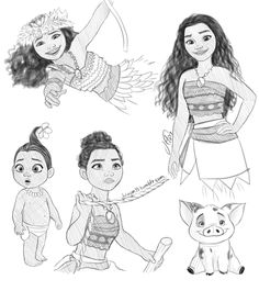 Some Moana sketches, just playing around with this pencil like brush in SAI Also, some bonus: Moana Sketches, Disney Drawings Sketches, Cartoon Drawings, Drawing Sketches, Arte Disney, Disney Fan Art, Disney Love, Moana Drawing, Desenhos Tim Burton