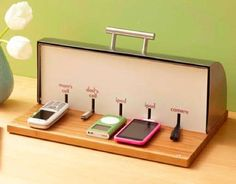 clever way to keep all those devices topped up  prevent cables from getting tangled