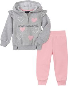 Calvin Klein Baby Girls 2 Pieces Jog Set, Gray/Pink is Calvin Klein denims: Calvin Klein denims reimagines their classically cool types for girls and boys. Clothing designed for youngsters whose way of life Fleece Hoodie, Hooded Sweatshirts, Hoodies, Calvin Clein, Jogger Pants, Joggers, Calvin Klein Jeans, Kids Fashion, Fashion 2020
