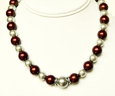 Red Necklace and Silver Handmade Beaded Jewelry by beaddesignsbyk, $37.95