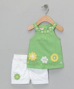 white shorts green tunic    daisy