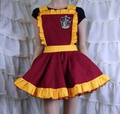 Gryffindor House Crest Embroidered Pinafore Apron Costume Skirt Adult