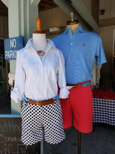 Women's South Beach Button Down Shirt, Peppervine Short, & Needlepoint Sailboat Belt with LeoCadia Designs White Mongo w/ Abalone Shell Necklace. Men's East Beach Polo, Red Cape Creek Short, & Needlepoint Lighthouse Belt.