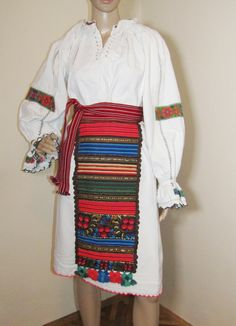 """Vintage Romanian traditional complete costume from Northern Transylvania /Bistrita Nasaud folkloric region. """" What define the Nasaud costume is a certain artistic optimism expressed by the contrast between the the white fabric of the blouse and the red of the embroideries """" - Doina Isfanoni - Patrimony Romanian Costume White Fabrics, Optimism, Ethnic, Contrast, Traditional, Costumes, Embroidery, Blouse, Red"""