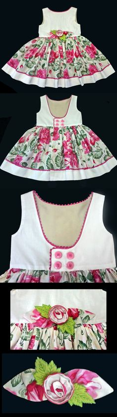 Vestido Infantil Floral - 4 anVestido Infantil Miss Cake Doce Princesa lovely combination! Me encantó!Discover recipes, home ideas, style inspiration and other ideas to try. Little Dresses, Little Girl Dresses, Cute Dresses, Frocks For Girls, Kids Frocks, Toddler Dress, Baby Dress, Frock Patterns, Baby Sewing