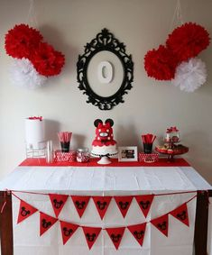 Red Black and White Dessert Table Inspiration Black White