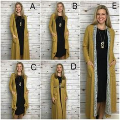 Ways to Style the LulaRoe Sarah | LulaRoe Kendra Campbell. Different ways to wear the Sarah cardigan!  A) Normal B) Front corners tucked up to inside of pockets and secured from inside the pocket with a hair tie. C) Front corners tied. D) Belted E) Joy vest layered under Sarah. You can also wear two Sarahs for color contrast and warmth (not pictured).
