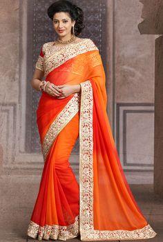 Scenic Shaded Orange Saree